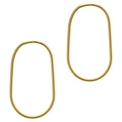 Earrings Hoop Shape Minimal Snake Chain 18 Karat Gold-Plated Silver Small, Greek