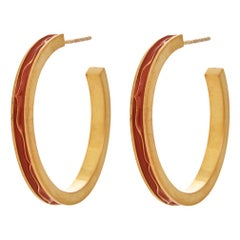 Earrings Hoops Classic Red Enamel 18K Gold-Plated Sterling Silver Greek Jewelry