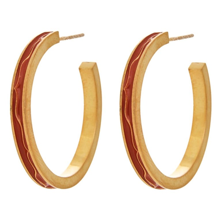 Earrings Hoops Classic Red Enamel 18K Gold-Plated Sterling Silver Greek Jewelry For Sale
