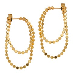 Earrings Hoops Double Round Motif Chain 18k Gold-Plated Silver Greek Earrings