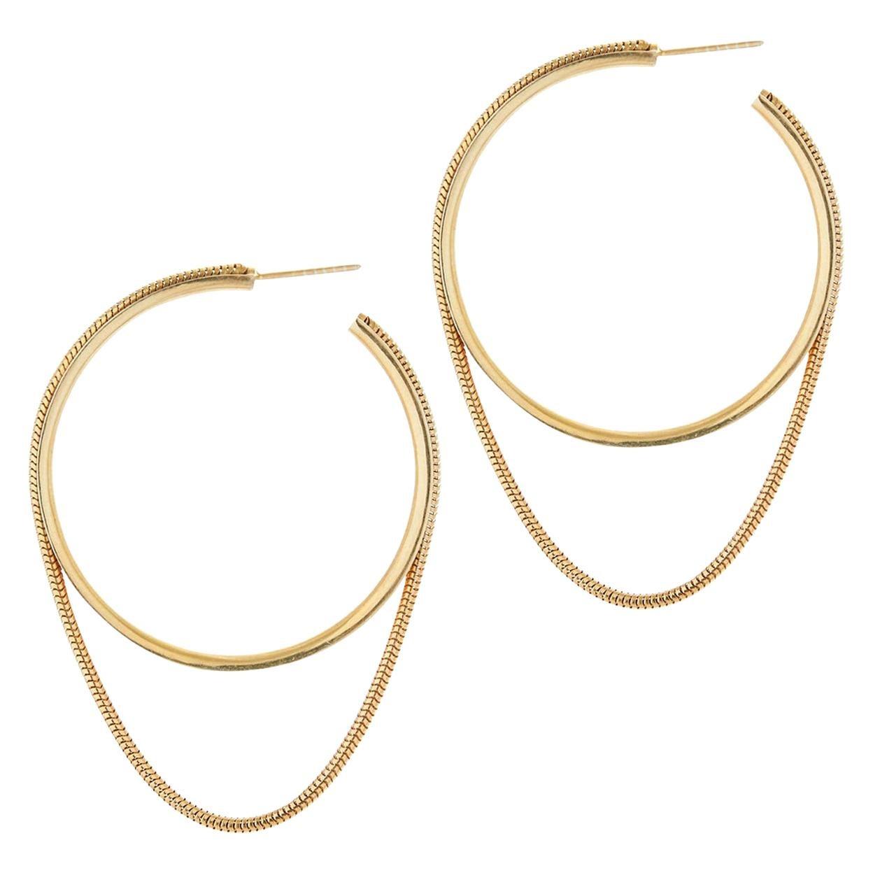 Earrings Hoops Minimal Large Snake Chain 18K Gold-Plated Silver Greek Earrings