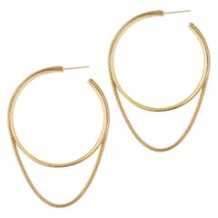 Earrings Hoops Minimal Large Snake Chain 18K Gold-Plated Silver Greek Earrings