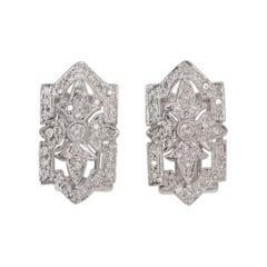 Earrings in 14K White Gold Natural Diamond Vintage Art Deco Style