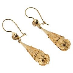 Earrings in 19th Century Style, 750 Yellow Gold