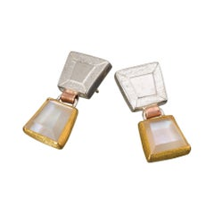 Earrings in 22 Karat Yellow Gold and Silver with Mother-of-Pearl