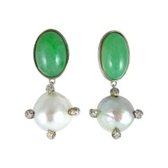 Earrings in Gold with Jade and, Diamond
