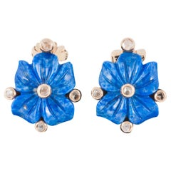 Vintage Carved Flower Earrings in Lapis Lazuli & Diamonds, Italian circa 1950.