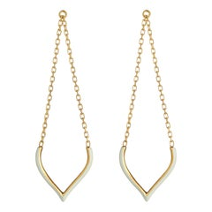 Earrings Long Chain Lotus 18 Karat Gold-Plated Silver White Enamel Greek Jewelry