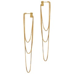 Earrings Long Minimal 18k Gold-Plated Silver Box Chain Movement Greek Earrings