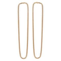 Earrings Long Minimal Snake Chain 18 Karat Gold-Plated Silver Greek Earrings