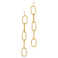 Earrings Long Round Ball Beaded Motif Chain 18K Gold Plated Silver Greek Jewelry