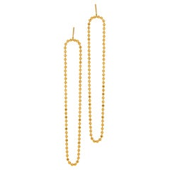 Earrings Long Slim Beaded Ball Motif Chain 18k Gold-Plated Silver Greek Jewelry