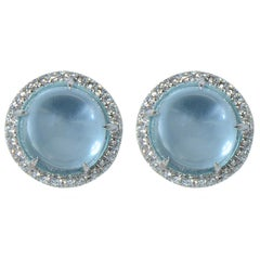 Earrings Margherita Burgener 18 Karat W Gold Blue Topaz Cabochon Diamond Italy