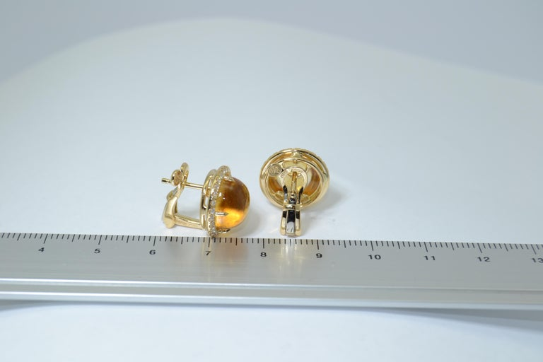 Round Cut Margherita Burgener 18 Kt Yellow Gold Diamond Citrine Quartz Earrings  For Sale