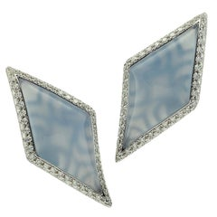 Earrings Margherita Burgener Diamond Carat 2.40 Chalcedony 18 Karat White Gold