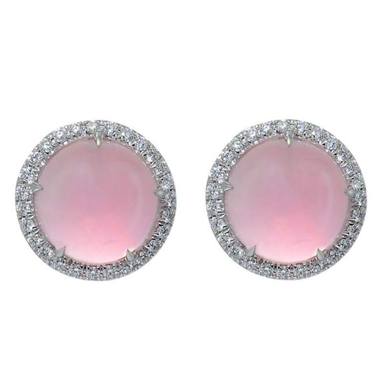 Pink Quartz Gold Diamond 0.48 Carat Earrings Handcrafted by Margherita Burgener For Sale