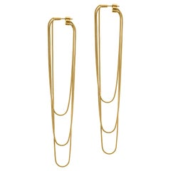 Earrings Long Minimal 18k Gold-Plated Silver Snake Chain Movement Greek Earrings