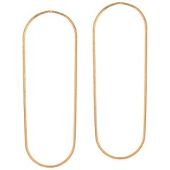 Earrings Minimal Snake Chain 18 Karat Gold-Plated Silver Large Hoop Shape Greek