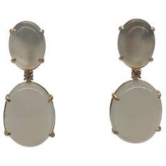 Earrings Moonstone Diamonds Yellow Gold 18 Carat