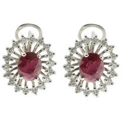 Earrings of Diamond and Ruby in 18 Karat White Gold