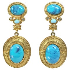 Earrings of Faux Turquoise and Gold Large Dangle Clip Backs