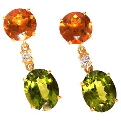 Earrings of Sparkling Peridot and Goldy/Orange Citrine