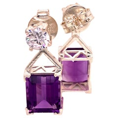 Gemjunky Earrings of Sparkling Zircons and Purple Amethysts