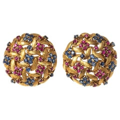 Earrings of Woven 18 Karat Gold with Sapphires and Rubies, Italian, circa 1950