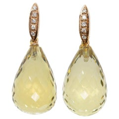 Earrings of Yellow Topaz and White Diamond in 18 Karat Rose and White Gold