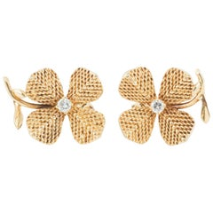 Earrings, Pair of 18 Karat Gold and Diamond Clips, French, circa 1950