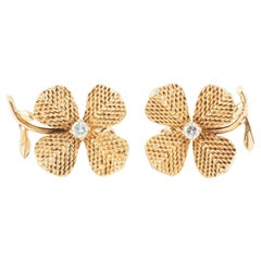 EARRINGS of Four Leaf Clovers 18 Karat Gold and Diamonds, French circa 1950.