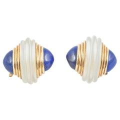 Earrings Pair of Crystal, Lapis Lazuli, 18 Karat Gold, Boucheron, France