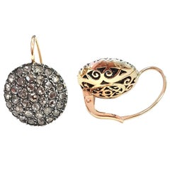 Earrings Pavé-Set with Diamonds in Silver and Rose Gold in Ancient Technique