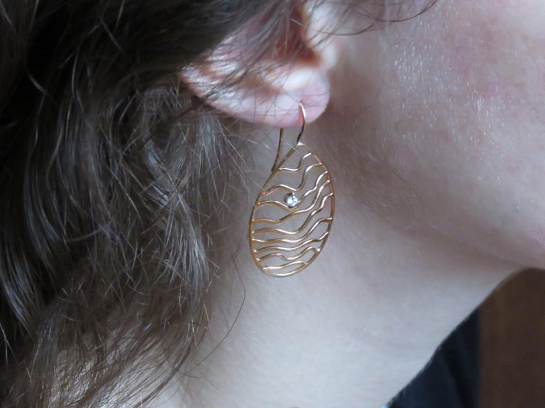 Round Cut Rose 18 Karat Gold Diamonds Earrings Handcraft in Italy by Botta Gioielli For Sale