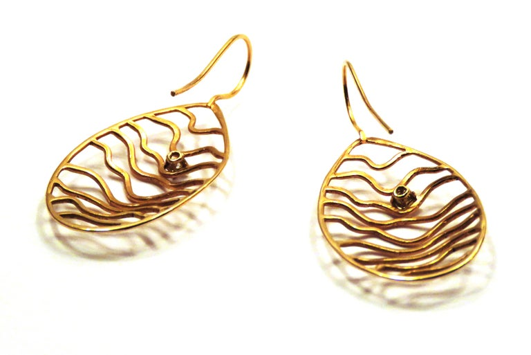 Women's Rose 18 Karat Gold Diamonds Earrings Handcraft in Italy by Botta Gioielli For Sale