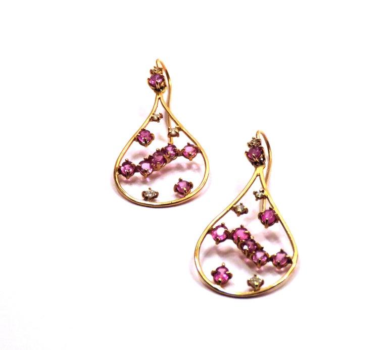 Modern Rose 18 Kt Gold Diamonds Rubies Earrings Handcraft in Italy by Botta Gioielli For Sale