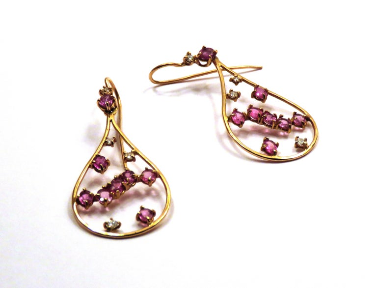 Oval Cut Rose 18 Kt Gold Diamonds Rubies Earrings Handcraft in Italy by Botta Gioielli For Sale