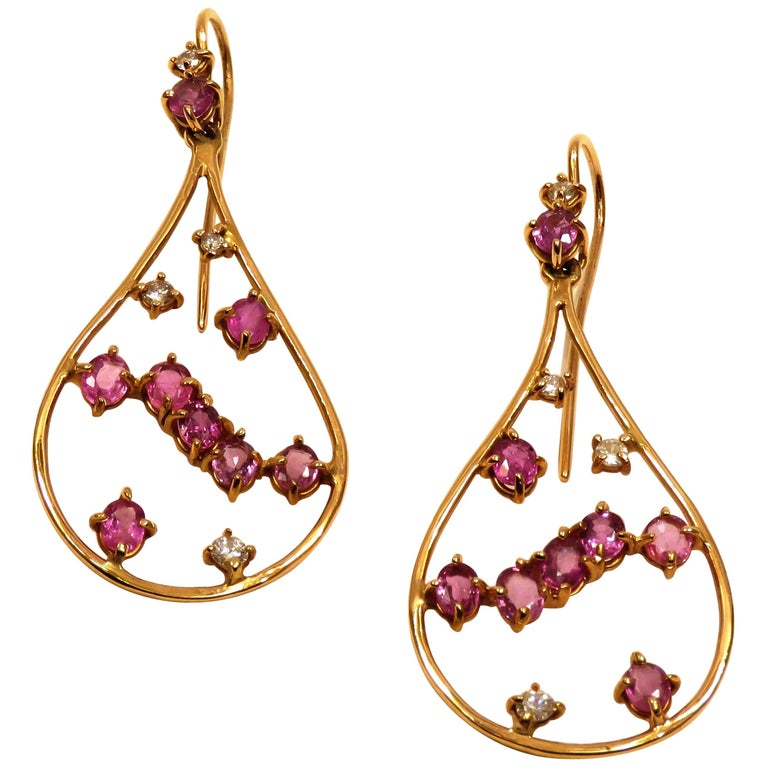 Rose 18 Kt Gold Diamonds Rubies Earrings Handcraft in Italy by Botta Gioielli For Sale