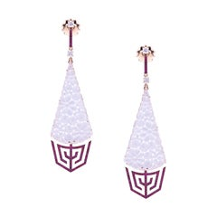 Earrings Rose Gold Carved Drop Translucent White Jade with Ruby and Diamonds
