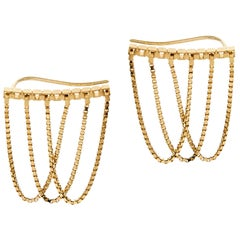 Earrings Short Studs Box Chain Currents 18K Gold-Plated Silver Greek Earrings