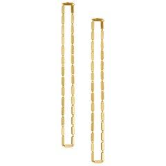 Earrings Silver 18 k Gold Plate Simple Greek Lightweight Chain Box Rectangular
