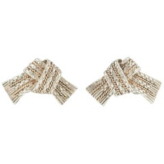 Earrings Silver and 18 Carat Gold of Chain and Rope Design by Hermes Paris Circ