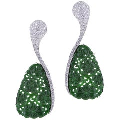 Earrings White Gold Carved Drop Green Jade And Diamonds
