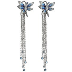 Earrings White Gold White Diamonds Sapphires Hand Decoated with Micro Mosaic