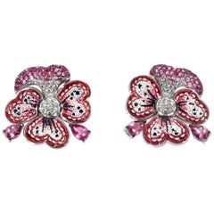 Earrings White Gold White Diamonds Sapphires Tourmaline Hand DecorateMicromosaic