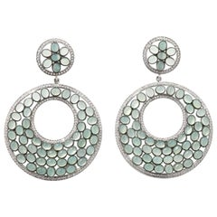 Earrings with 424 Zircons and 114 Calzedones, Sterling Silver