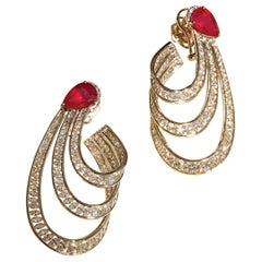 Earrings with 8.58 Carat Rubies and 8.97 Carat Diamonds