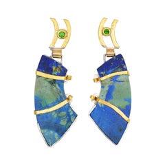 22 Karat Gold and Silver Earrings with Azurite Malachite and Tsavorite Garnet