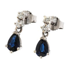 Earrings with Diamonds and Sapphires, 14 Karat White Gold