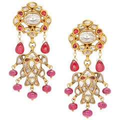 Earrings with Diamonds Rubies and Spinels Handcrafted in 18K Gold with Enamel